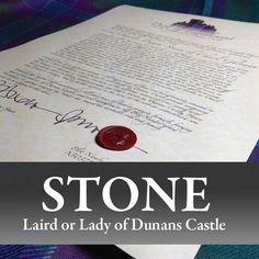 Decorative Title: Laird & Lady of Dunans Castle