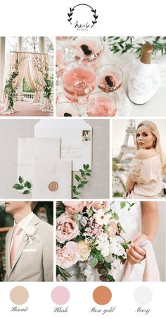 Paris blush and rose gold wedding inspiration gold wedding theme, gold wedding colors, rose Blush Wedding Theme, Gold Wedding Colors, Summer Wedding Colors, Rose Wedding, Blush Bridal, Romantic Wedding Themes, Spring Wedding, Wedding Colour Themes, Rose Gold Weddings