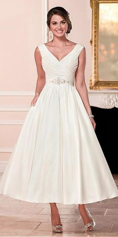 Attractive Satin V-neck Neckline A-line Tea-length Wedding Dress With Beadings