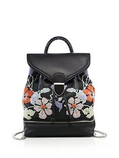 Alexander McQueen - Legend Small Floral-Embroidered Leather Backpack