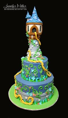 If Mia is still as obsessed with Rapunzel on her birthday.dare I attempt this? Pretty Cakes, Cute Cakes, Beautiful Cakes, Yummy Cakes, Amazing Cakes, Rapunzel Torte, Tangled Rapunzel, Disney Tangled, Disney Cakes