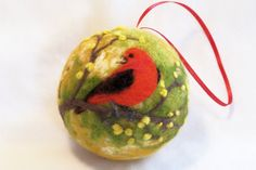Needle Felted Christmas Bird Ornament Scarlet by syodercrafts, $28.00