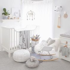 pipandsoxA gorgeous nursery inspiration by the lovely and super talented @oh.eight.oh.nine gender neutral room love the baby rocker