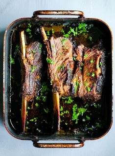 Oven Roasted Short Ribs with a Garlicky Cilantro Marinade
