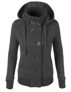 This fleece double breast coat with hood features a double breasted front design. Pair with our skinny denim pants for a casual look. Feature Contrast Rib: 99% Polyester / 1% Spandex; Outer Shell: 65% Cotton / 35% Polyester 2 Front pockets for convenience / Quilted on shoulder for style Double breasted button closure Ribbed on sleeve and bottom hem Machine wash cold with similar colors / Do not bleach / Tumble dry low / Warm iron Please look at the measurements b...
