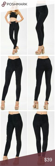 PRE ORDER NWT BLACK MOTO SUEDE LEGGINGS Suede leggings  WITH PINTUCK DETAILED Comfy and could be paired with anything Pants Leggings