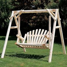 Rustic Natural Cedar Furniture American Garden 5-ft. Log Porch Swing and Stand S modern outdoor swingsets