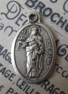 Saint Rose Of Lima Medal Patron Of Latin America And Philippines Protector Of Florists & Gardeners, Holding A Cross