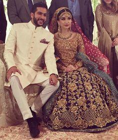 Sana Ansari looking gorgeous on her valima in ? Available for custom order. Wedding Lehnga, Desi Wedding, Wedding Dress, Wedding Wear, Walima Dress, Pakistani Bridal Dresses, Bridal Lehenga, Couture Dresses, Fashion Dresses