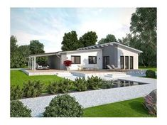 Model casa LIFE 110 L Walmdach, Suprafata 108 mp, 3 camere, Proiect Haus xxl Modern Bungalow House, Modern House Design, Home Building Design, Building A House, Small Modern Home, My Ideal Home, House Elevation, Design Case, House In The Woods