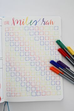 Bullet Journal mile tracker and half marathon training plan