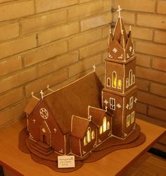 Church-add steeple to main, draw out door. Gingerbread House Template, Gingerbread Village, Christmas Gingerbread House, Gingerbread Cookies, Christmas Crack, Christmas Goodies, Christmas Wishes, Christmas Holidays, Holiday Baking