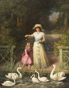 Philip Richard Morris (english, 1836 - 1902) - Feeding the Swans -1887 by Victorian British Painting