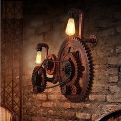 Loft Style Industrial Creative Wood Gear Vintage Wall Light For Home Antique Water Pipe Lamp Bedside Edison Wall Sconce Design Steampunk, Steampunk Interior, Steampunk Furniture, Vintage Wall Lights, Vintage Walls, Vintage Lighting, Loft Estilo Industrial, Industrial Closet, Industrial Bookshelf