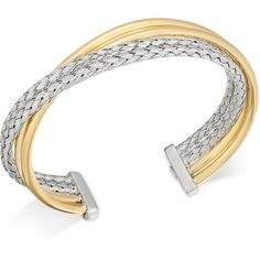Two-Tone Overlap Cuff Bangle Bracelet ($816) ❤ liked on Polyvore featuring jewelry, bracelets, yellow gold, two tone cuff bracelet, 18 karat gold jewelry, hinged cuff bracelet, cuff bangle and two tone bangles