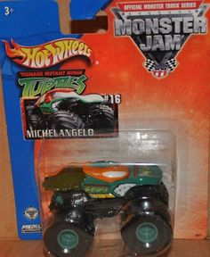 Amazon.com: 2003 hot wheels monster jam ninja turtle michael angelo monster truck #16: Toys & Games