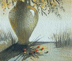 Fragment. Miniature painting 3 small fine art original by Tatyana Goodz