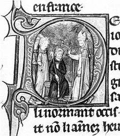 Couronnement du roi Eudes(enluminure des Grandes Chroniques de France)- 12) EUDES 1° DE FRANCE- Un monarque contesté: Cependant Eudes reste contesté, notamment du fait de l'opposition de l'archevêque de Reims, FOULQUES, et de celle du comte de Poitiers, tuteur du jeune CHARLES LE SIMPLE. Il lui faut l'appui d'ARNULF DE CARINTHIE, roi de Francie orientale, pour obtenir le soutien de l'ensemble des grands du royaume, officialisé par un second couronnement à Reims le 13 novembre 888,...