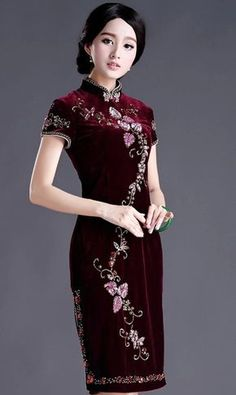 Classic Burgundy Pleuche Floral Embroidery Qipao Dress for Mother - iDreamMart.com