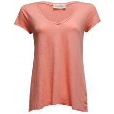 American Vintage Jacksonville V Neck Short Sleeve T-shirt in Dhalia Peach