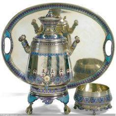 Ivan Petrovich Khlebnikov (1819-1881) & workshop ~   Samovar, Tray and Waste Bowl, ca. 1871 | Russia  : Silver, champleve enamel