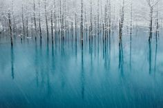 """Nature Honorable Mention: """"Blue Pond & First Snow"""" (Hokkaido, Japan)"""