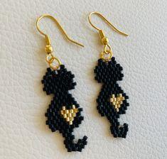 Beaded Earrings Patterns, Beading Patterns, Crochet Earrings, Embroidery Patterns, Brick Stitch Earrings, Seed Bead Earrings, Drop Earrings, Cat Jewelry, Beaded Jewelry