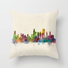 Chicago City Skyline Throw Pillow by ArtPause - $20.00