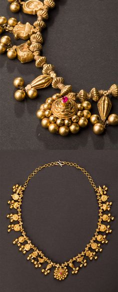 Central India | Wedding necklace with 21 pendants; 22k gold | ca. Early 20th century.  Maharashtra  | 3'800€ ~ sold