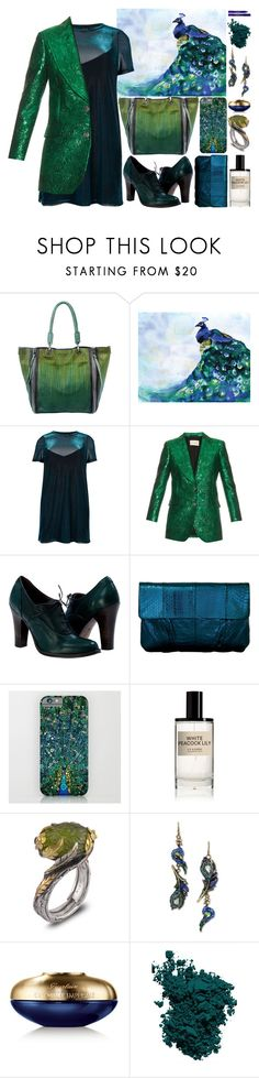 """""""Spirit Animals (Peacock)"""" by ubiquitous-merkaba ❤ liked on Polyvore featuring Old Trend, River Island, Gucci, Inge Christopher, D.S. & DURGA, Emma Chapman, Betsey Johnson, Guerlain, Chantecaille and By Terry"""