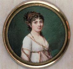 Portrait de Mademoiselle de Bussy-Rabutin par Jean-Antoine Laurent 1763-1832. Diamètre de la miniature: 7cm