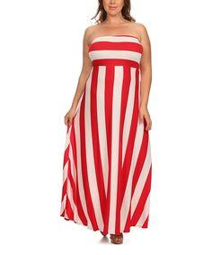 cf73c749a67 J-Mode USA Los Angeles Red   White Stripe Strapless Maxi Dress - Plus