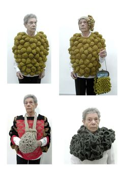 the fact that a serious old lady is wearing that stuff just makes me love this. Art Au Crochet, Knit Art, Knit Crochet, Knitwear Fashion, Knit Fashion, 3d Fashion, Textile Fiber Art, Textile Artists, Knitting Designs