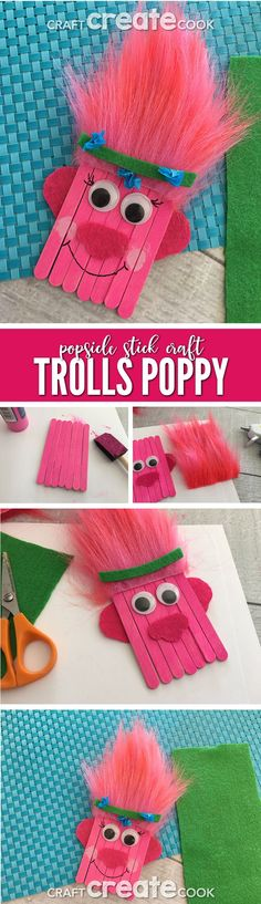 Trolls Poppy Popsicle Stick Craft for Kids via Craft Create Cook