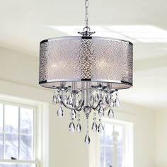 Indoor 4-light Chrome/ Crystal/ White Shades Chandelier, Silver