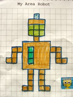 """Here's an activity where students create their own """"Area Robots"""" on grid paper and then answer questions about them. Includes recording sheet and cover for a class book."""