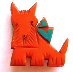 END SOON! Vintage Bakelite ORANGE Scottie Dog w/ Teal Bow Pin Brooch Terrier Carved Cairn