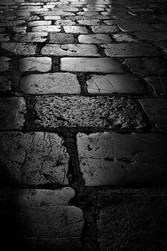 Street, Road, Bricks, Black and White Photography