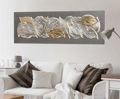 P4630 - FOGLIE D'INVERNO Cm 160 x 50  Struttura telata laccata antracite con composizione di foglie in rilievo, decorate a mano su foglia argento e oro  #quadro #quadri #foglie #inverno #pintdecor