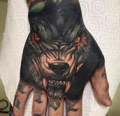 Wolf hand tattoo | Tattoos | Pinterest | Hand tattoos, Wolves and Tattoos and body art