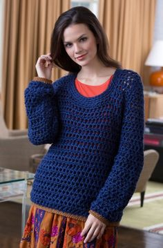 Free Pattern: Summer Night Sweater in Red Heart Soft