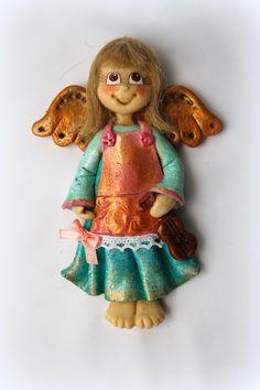 Anioł z masy solnej, figurka z masy solnej, masa solna, salt dough angel