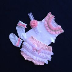 NEWBORN baby girl take home outfit, ruffles and rhinestones, ruffled bloomers, headband, socks with bows - Ready to Ship