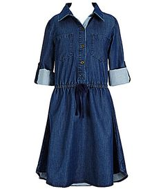 Copper Key Big Girls 716 Chambray Woven Shirt Dress #Dillards