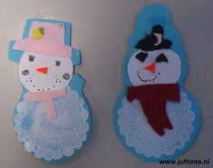 Gebruik een papieren onderzetter voor de onderkant van de sneeuwpop. Daarna knip je nog een of twee rondjes voor de rest van de sneeuwpop. Met vilt zijn deze sneeuwpopjes voorzien van een neus, hoed en sjaal. Je kunt in het midden van de buik ook nog een wattenschijfje plakken. Met dank aan juf Martine !