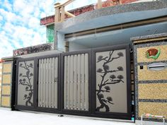 Premium Collections Images of Trackless & Folding Gates - Elite Gates Compound Wall Gate Design, Gate Wall Design, Grill Gate Design, Steel Gate Design, Front Gate Design, House Front Design, Iron Main Gate Design, House Main Gates Design, Main Door Design