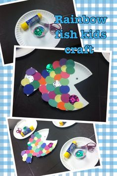 """Story time craft """"rainbow fish"""" . For toddlers and pre-k kids. Paper plates, colorful paper circles, and glue!!"""