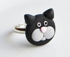Cat Face Ring, Polymer Clay, Fimo, Animal, Kitten, Child Jewellery £6.00