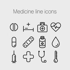 Medicine line icons Free Vector