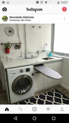 Cozy small laundry room decorating ideas with small ironing board Small Laundry Rooms, Laundry Room Design, Laundry In Bathroom, Home Organisation, Laundry Room Organization, Interior Design Living Room, Living Room Designs, Design Room, Laundry Room Inspiration